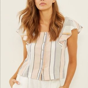 3 dots button front flutter sleeve striped top NWT